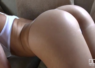 Hot tow-haired Holly Gibson in sexy white panties