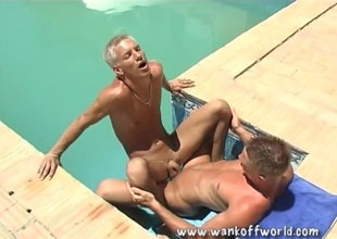 Hot boy ass rimmed together with fucked in the pool