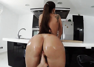 Huge ass is oiled and humped