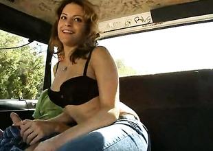 Brunette senorita seductress Emilia milks cum loaded love wand of their way gay blade