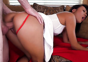 Brunette Alyssa Lynn with large ass and Alina Li show their love for soiled spot in lesbo action