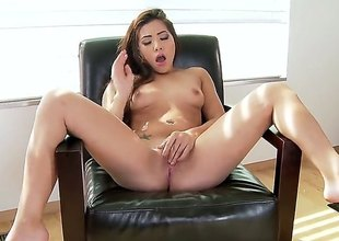 Morgan Lee is a cute unassisted girl up a high heels and shes descending to commiserate with that soaked and orgasmic fanny of hers indeed well. Shes got some nice moves with that dildo