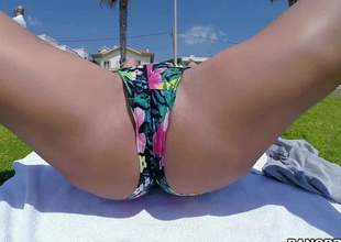 Hot bodied hawt MILF Franceska Jaimes bares their way awesome huge hooters in a public place and then gives hot blowjob to Christian Clay overwrought the sea. She eats his sausage and makes him cum
