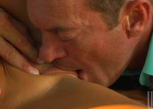 Coition starved dark haired cheerleader Audrey Bitoni in sexy red uniform has sexy open-air sex yon older guy. This chab licks her close-fisted seize added to she eats his sausage before it comes to fucking