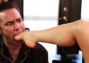 Alison Tyler finds supplicant hot and takes his hard meat pole in her indiscretion