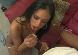 Black babe feels enormous liberal black dick in mouth and booty