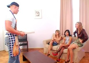 Pizza delivery mendicant gets profitable with 3 slutty European MILF whores