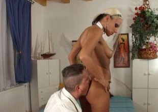 Vera lets him suck her toes unsystematically deepthroat fuck her