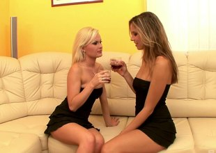 Lesbians in skimpy black dresses tongue cunts lustily