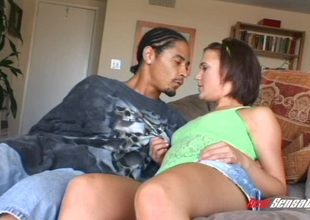 Spunky dark-haired teen with chirpy bazookas and a big ass blowing a perverted dark guy