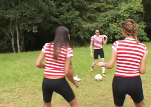 Soccer team of sexy t-girls gangbang two lucky scrounger outdoors
