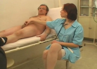 Downcast keeping Alicia is sucking her patient's juicy penis