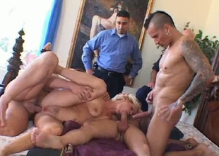 Zealous shove around lewd gaffer blondei Sandra can wait on with 3 dicks