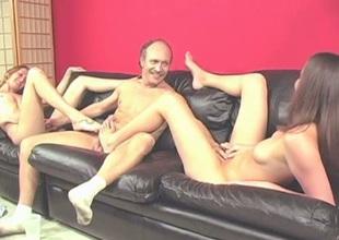 Older dude receives teased with a fine footjob unabridged by leggy brunette