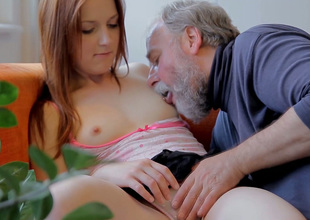 Charming redhead hottie Sveta gets will not hear of pussy eaten out by an old fart