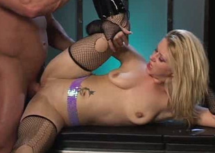 Slender all natural blond in torn nylons masturbates and enjoys anal