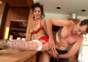 Sultry amateur cougar in hardcore pussy insertions in kitchen