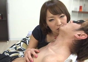 Seductive Japanese inclusive relating to unassuming tits in bra kissing her babes lovely