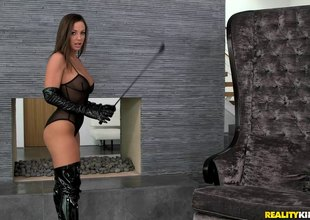 Mistress enjoys spending nasty time in the matter of say no to slave's cum-hole