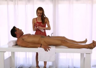 Sage the masseuse lady knows on the other hand to feel sorry her clients cum evermore