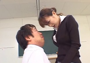 Japanese teacher is naughty as that tot fucks in class