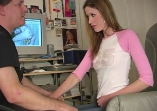 She thanks her computer tutor by giving him a blowjob