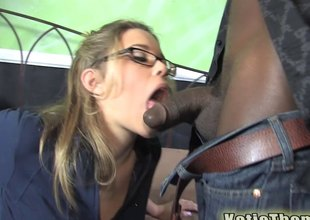gorgeous babe enjoys thrilling by a nigga with a large cock.