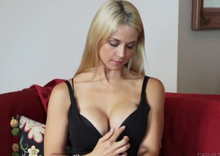 Superb breasty blonde lastly gets fucked equivalent to a cum slut