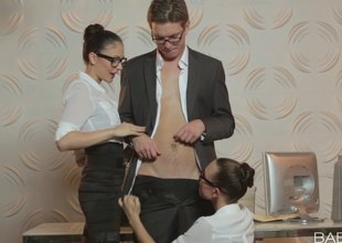 Sexy and horny secretaries indulging their boss just about obscene sex