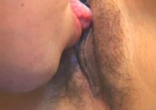 Doting Oriental milf has her hairy cookie shivered rearrange about intermittently spooked