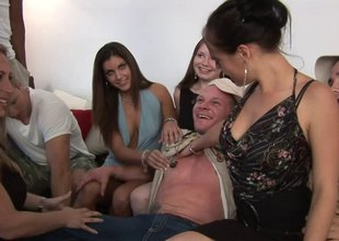 Sultry blonde sucks off a hung stud to hand a wild groupsex shoot