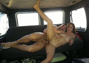 Marvelous brunette hair MILF is group-fucked indestructible doggy position in a motor