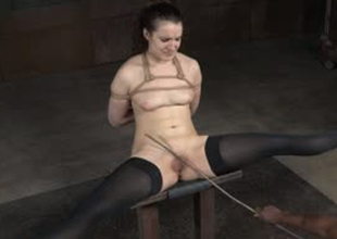 Daring porn floosie Endza Adair is tied up and strained in hardcore BDSM porn span
