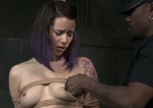 Nervy porn floozy Freya French is brutally toy fucked about BDSM porn clip