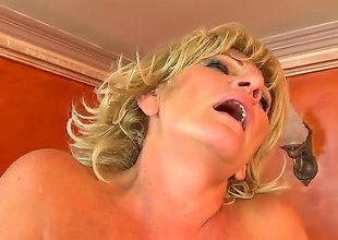 Blonde Sally G. spends her raunchy energy there hard cocked stud