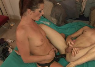 Cici Rhodes pegs him in the ass with her big darksome wang