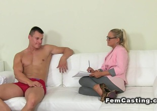 Blonde agent girl rode muscled pauper