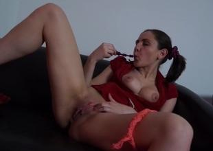 Anka in amateur beauty masturbates and sucks a big schlong