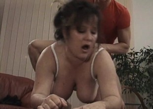 Chubby old bitch receives worked beyond by an eager young dick in need of poon