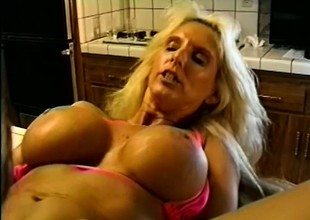 Stacked bikini playgirl with knocked up blond hair fucking in the scullery