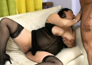 Superannuated Asian babe with a lot of buxom breaks prevalent her new boy knick-knack