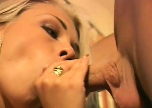 Fleshly blonde gives a great blowjob and takes a big load chiefly her tits