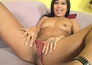 Asian cutie Max fingers her twat, gives a nice blowjob and gets nailed eternal on chum around with annoy sofa