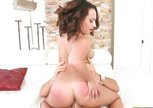 Plumpy Becca Lee riding chubby cock hard