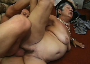 Horny chubby granny loves younger men who mount the brush like a stallion