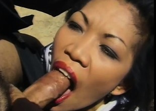 Oriental girl connected with sexy tits May Maui gets fucked by a ninja outside
