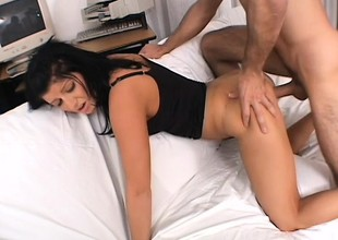 Pretty college girl gets nailed hard and takes a big load regarding her mouth