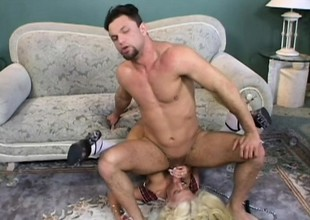 Satiated yellowish in white stockings gets pounded hard by duo hung studs