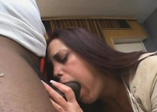 Gorgeous brunette doll gets a smack of a giant louring schlong