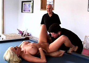 Sweltering husband loves to ahead to his busty blonde wed getting fucked by another guy